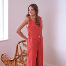 Load image into Gallery viewer, Amber Washed Red Linen Jumpsuit, Relaxed Fit