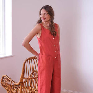 Amber Washed Red Linen Jumpsuit, Relaxed Fit