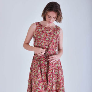 Adelia Red Paisley Print Cotton Swing Dress
