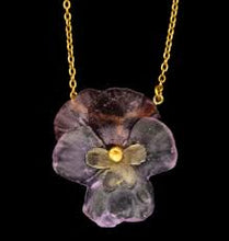 Load image into Gallery viewer, Pansie Flower Pendant, 16""