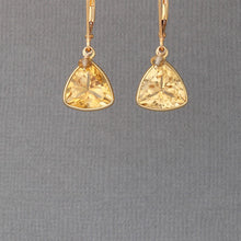 Load image into Gallery viewer, Gold-Filled Trillion-Cut Citrine Earrings
