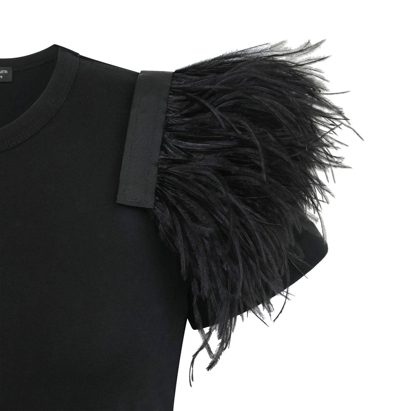 NIKI Black Ostrich Feathers Shoulder Accessory