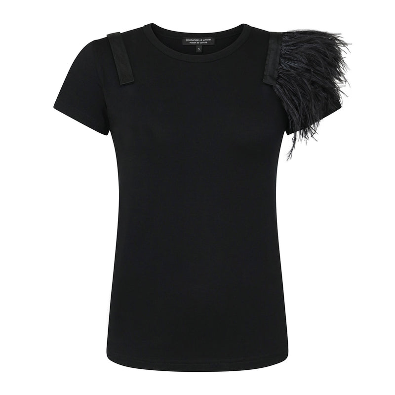 Black Ostrich Feathers T-Shirt