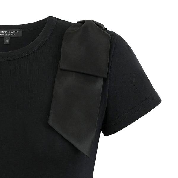 ROTELLA Black Satin Bow T-Shirt