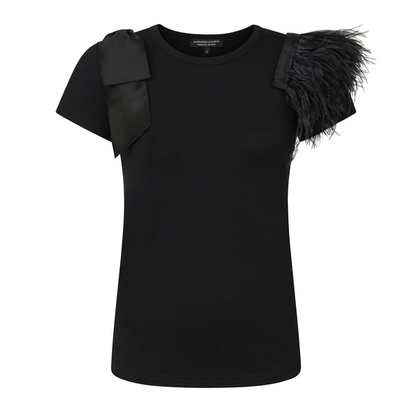 Mademoiselle Martin Signature  Box Set Ostrich Feathers Black Satin Bow T-Shirt