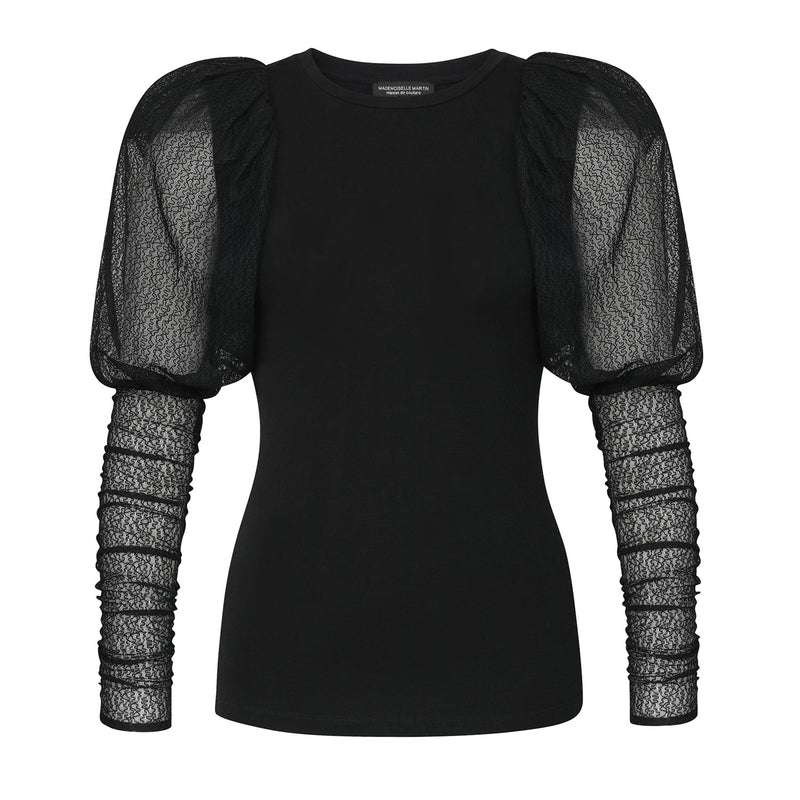 Top with removable lace sleeves