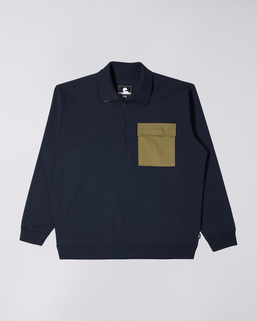 Edwin - Raid Popover Sweat Interlock - Navy Blazer/