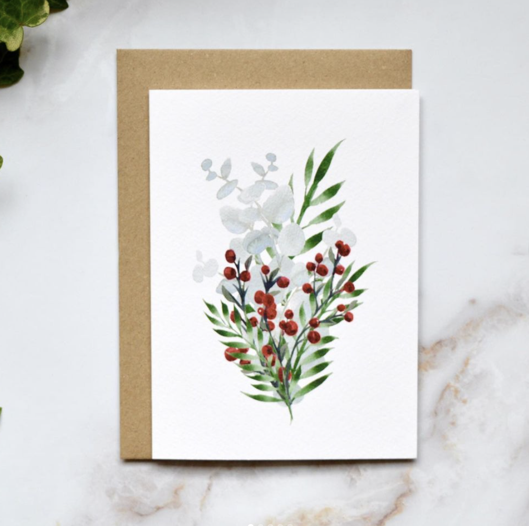 Amelia Durie Studios - Single Christmas Card -Berries