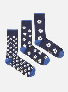 Universal Works - 3pk Flower Sock - Navy