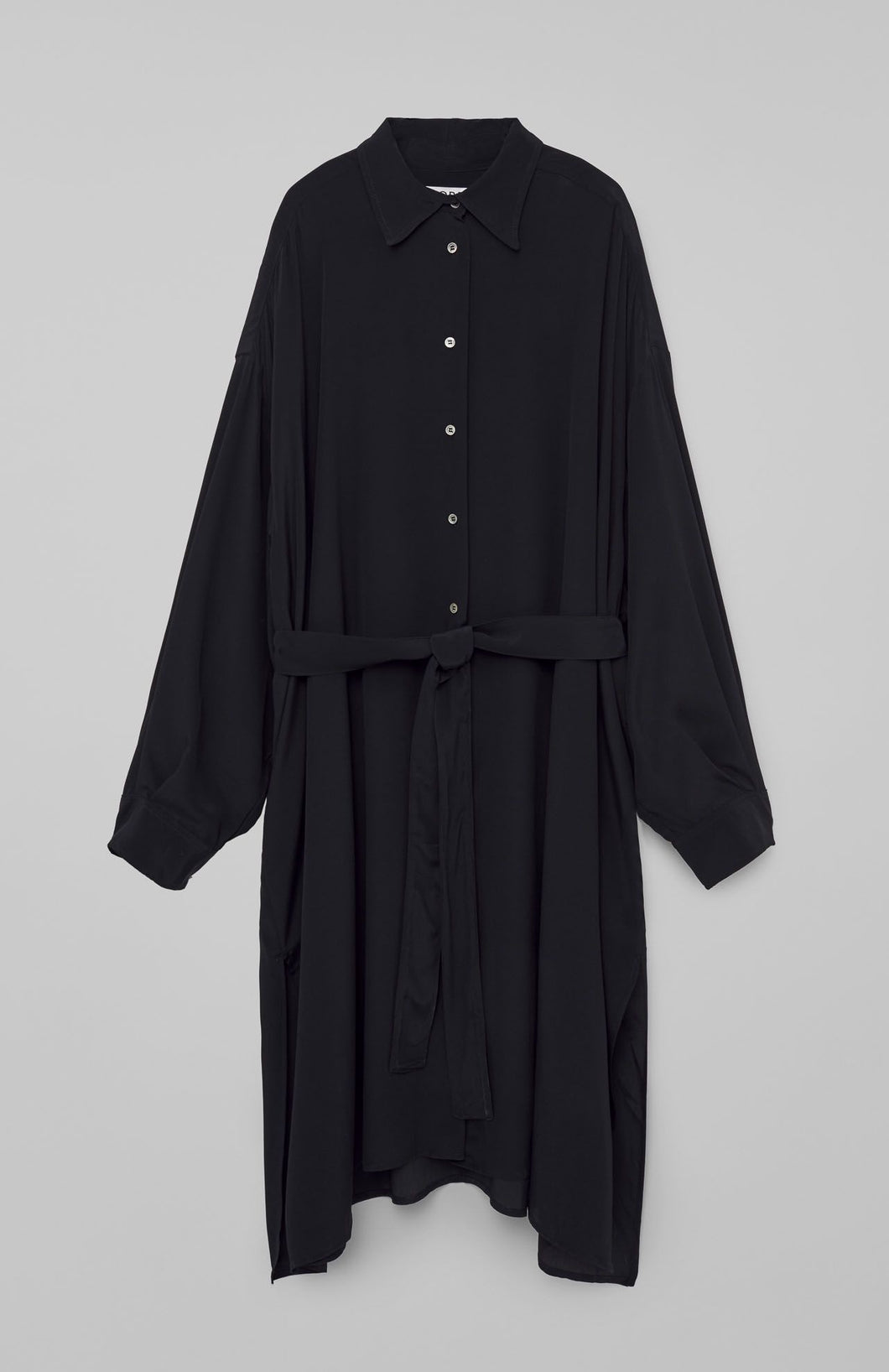 Loreak - Flui Silk Blend Shirt Dress - Black
