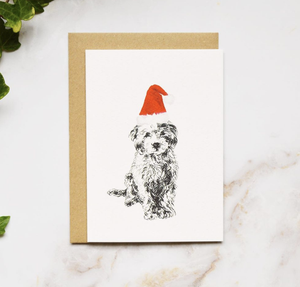 Amelia Durie Studios - Single Christmas Card - Dog (Small Poodle)