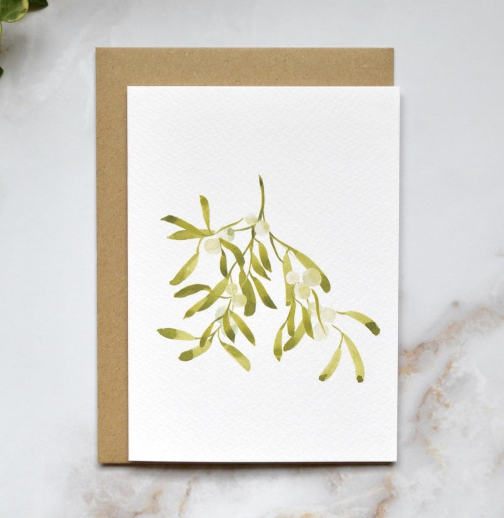 Amelia Durie Studios - Single Christmas Card - Mistletoe