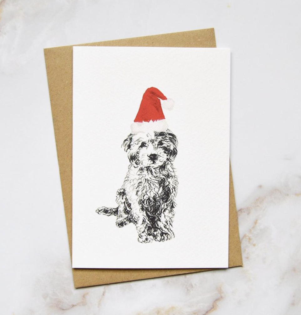 Amelia Durie Studios - Pack Christmas Card - Dog  (Small Poodle)