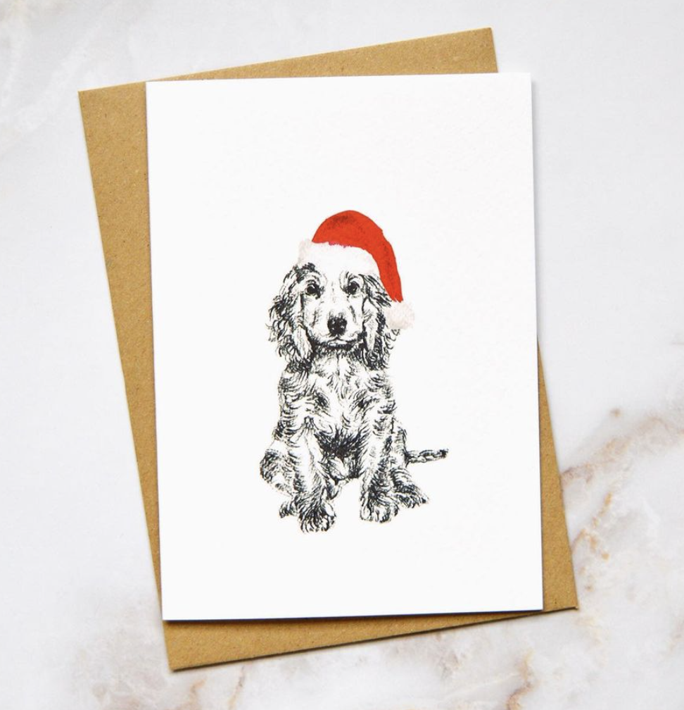 Amelia Durie Studios - Single Christmas Card - Dog (Spaniel)
