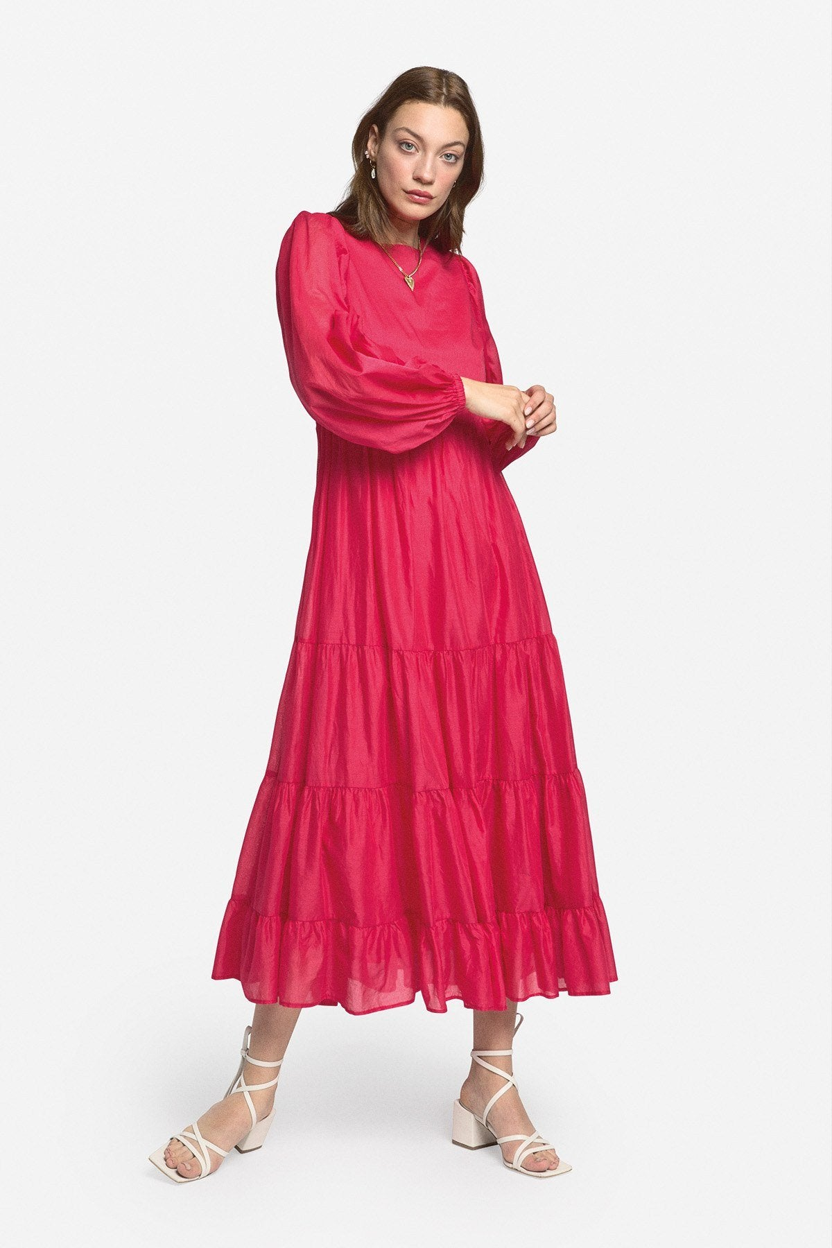 Ottodame - Cotton Long Dress with Ruffles - Pink O3