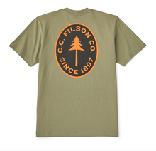 "Load image into Gallery viewer, Filson - S/S Outfitter Graphic T-Shirt ""Pine Tree"" - Burnt Olive"