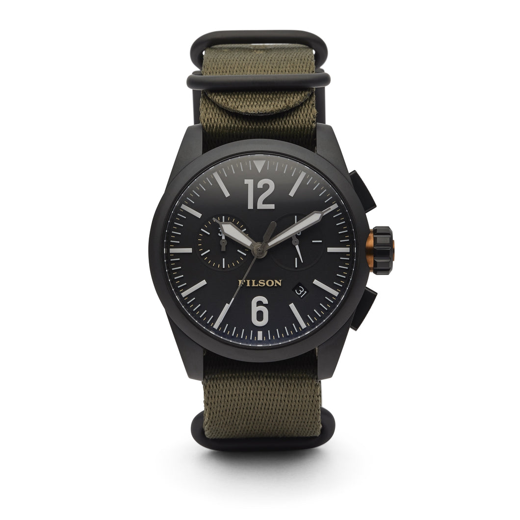 Filson - Chronograph Watch - Black / Olive Strap
