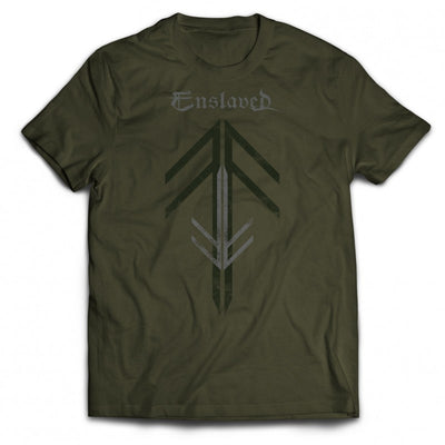 Enslaved - Rune Cross T-Shirt green - Nordic Music Merch