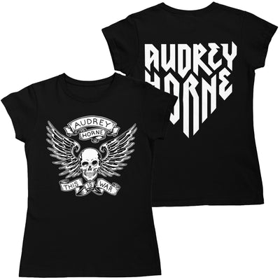 "Audrey Horne ""Skull & Wings"" Womens T-Shirt black - Nordic Music Merch"