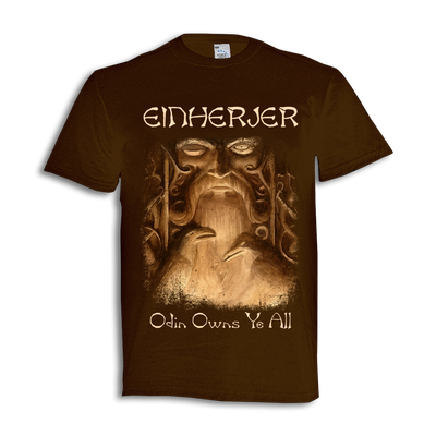 "Einherjer - ""Odin Owns Ye All"" Brown T-Shirt - Nordic Music Merch"