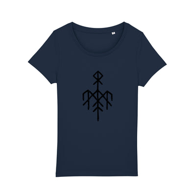Wardruna - Black Rune Logo on Women's Navy T-Shirt - Nordic Music Merch