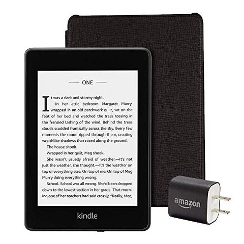 All-new Kindle Paperwhite Essentials Bundle (32GB/Wifi/Leather/Black/Adapter)