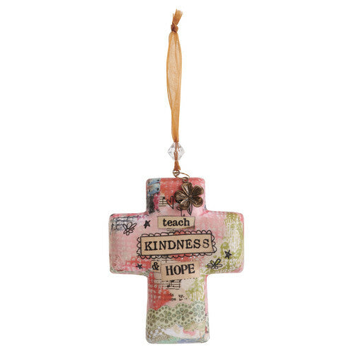 DEMDACO Kelly Rae Roberts Hanging Cross Ornament - Teach Kindness