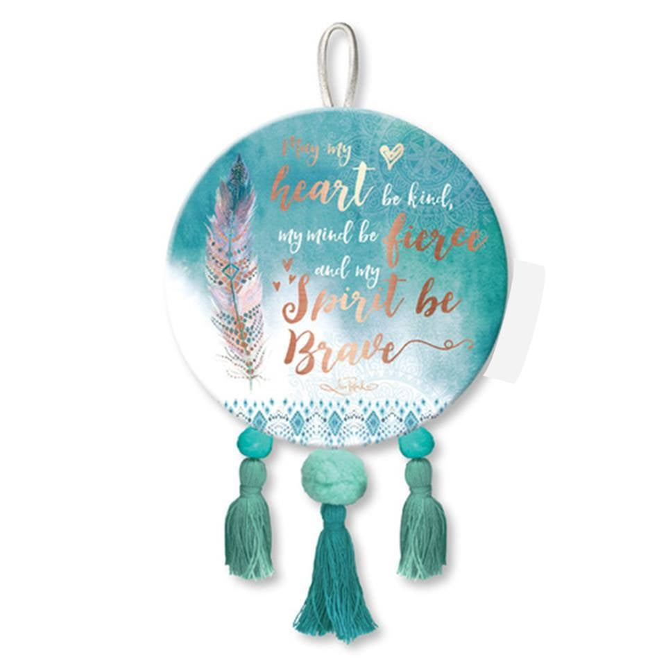 Be Brave Spirit Feather Round Hanging Plaque with Tassels - E1
