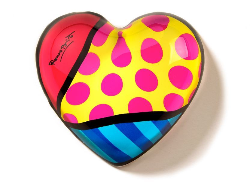 Red Heart Glass Paperweight by Romero Britto