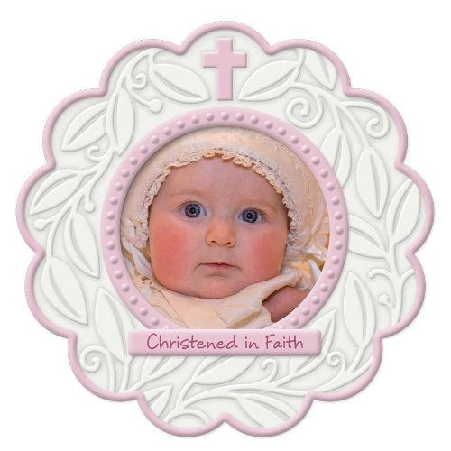 Enesco This is The Day Round Christening Photo Frame - Pink