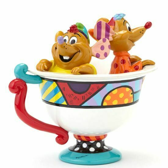 DISNEY BRITTO JAQ & GUS IN TEA CUP LARGE FIGURINE