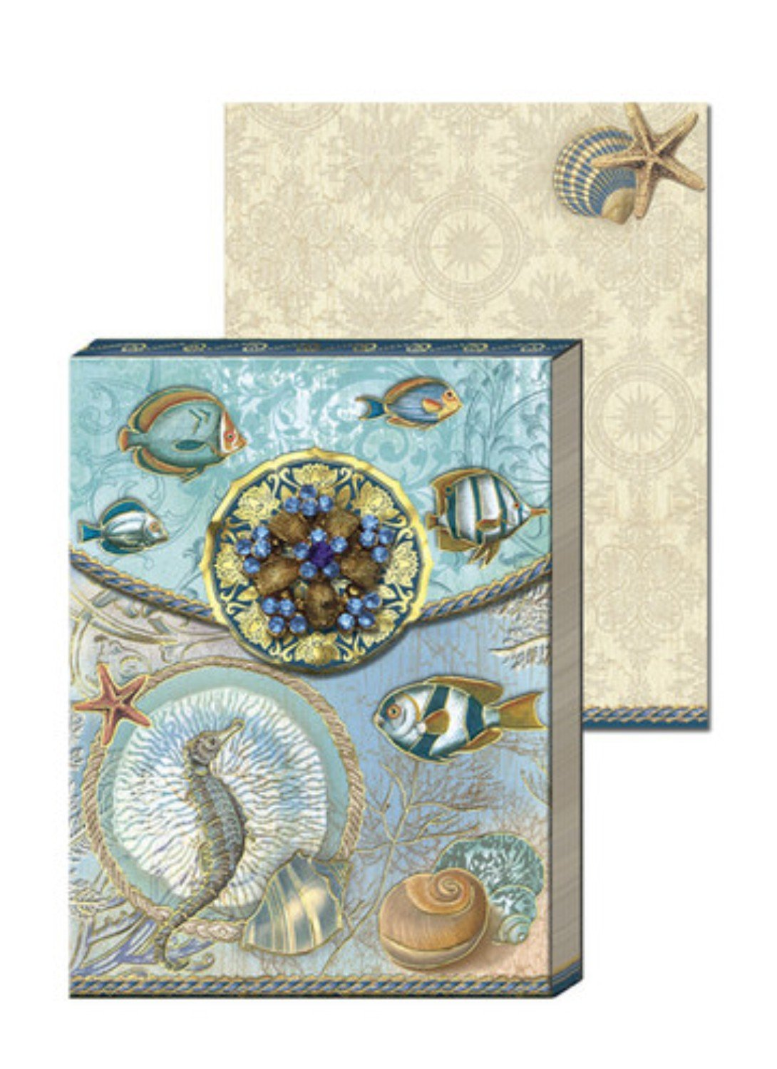 Punch Studio Note Pad with Decorative Brooch-Seascape