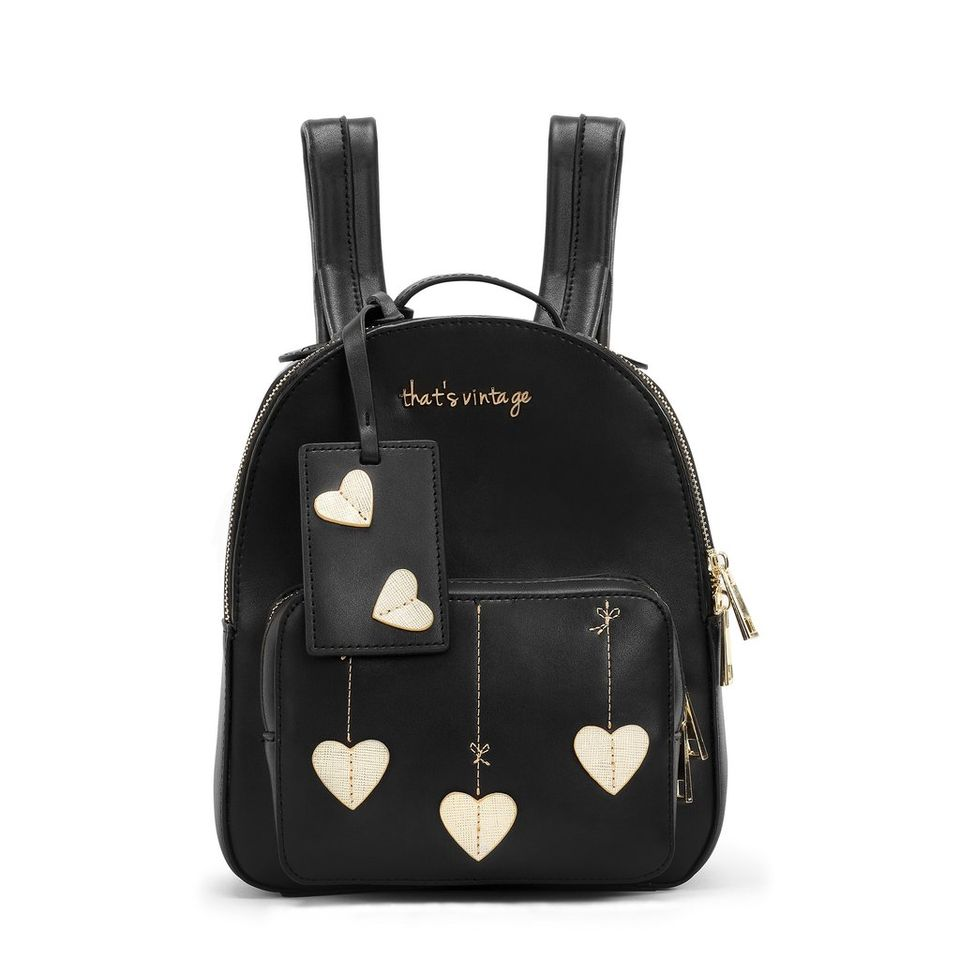 String Heart Black: That's Vintage leather backpack