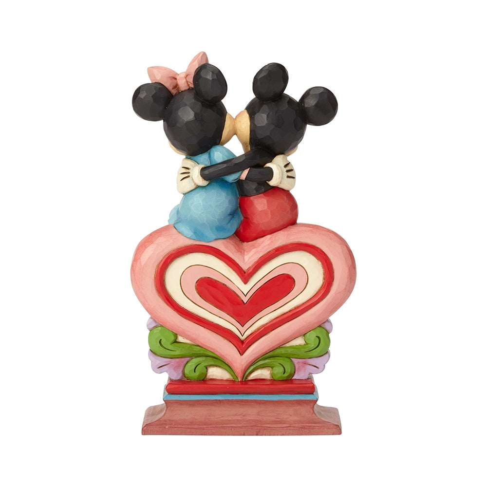 Mickey and Minnie Sitting on Heart - Jim Shore Disney Traditions Figurine