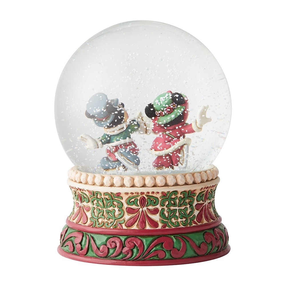 Victorian Mickey and Minnie Mouse Christmas Waterball - Jim Shore Disney Traditions Figurine