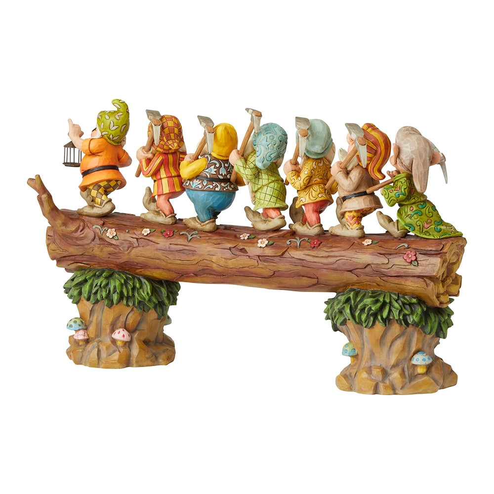 Snow White & The Seven Dwarfs on Log Masterpiece - Jim Shore Disney Traditions Musical Figurine