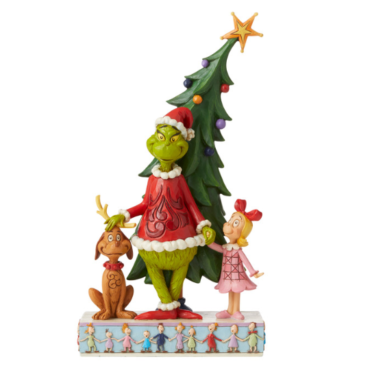 Grinch by Jim Shore - Grinch, Max and Cindy by Tree