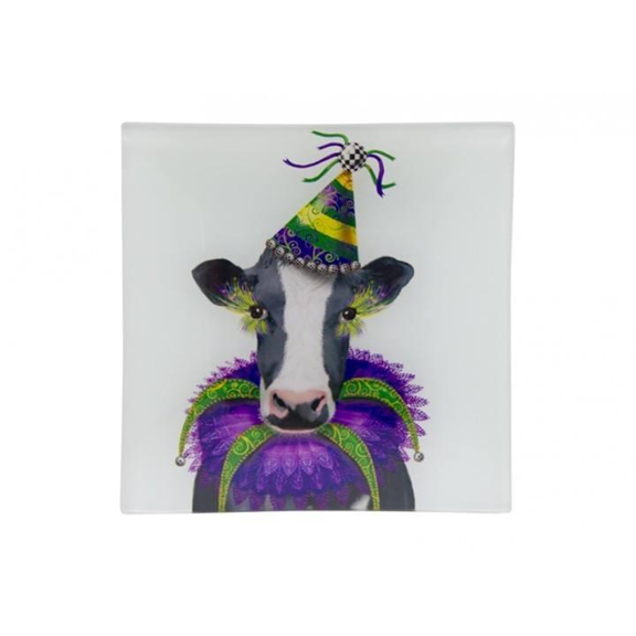 Decorative Cow Glass Plate