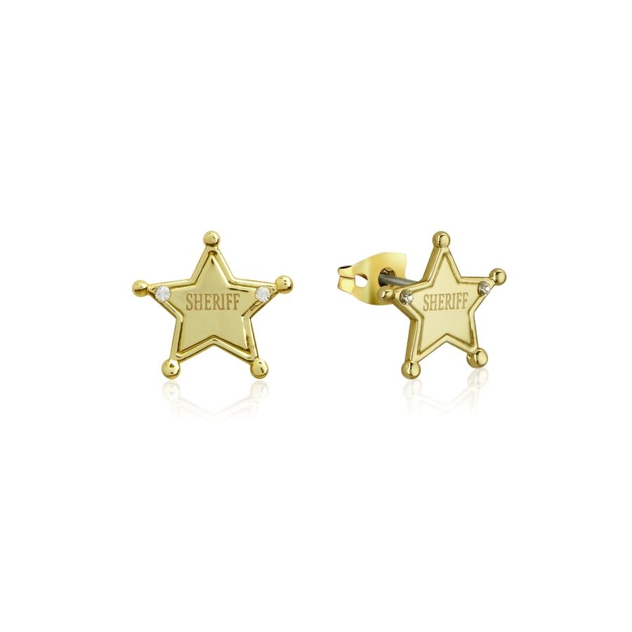 Disney Pixar Toy Story Sheriff Woody Stud Earrings yellow gold