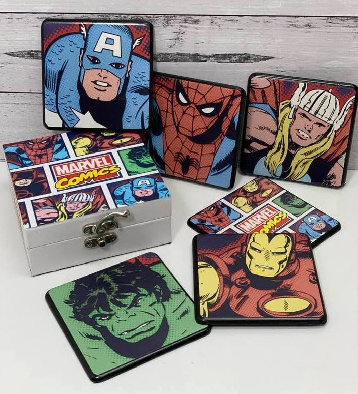 Retro Marvel Coasters Set of 6