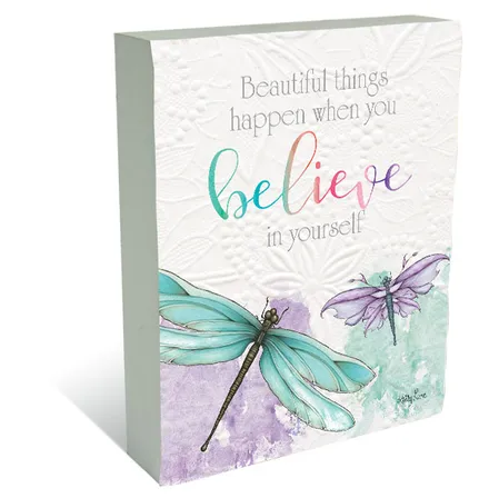 Plaque Block 3D Dragonfly BELIEVE