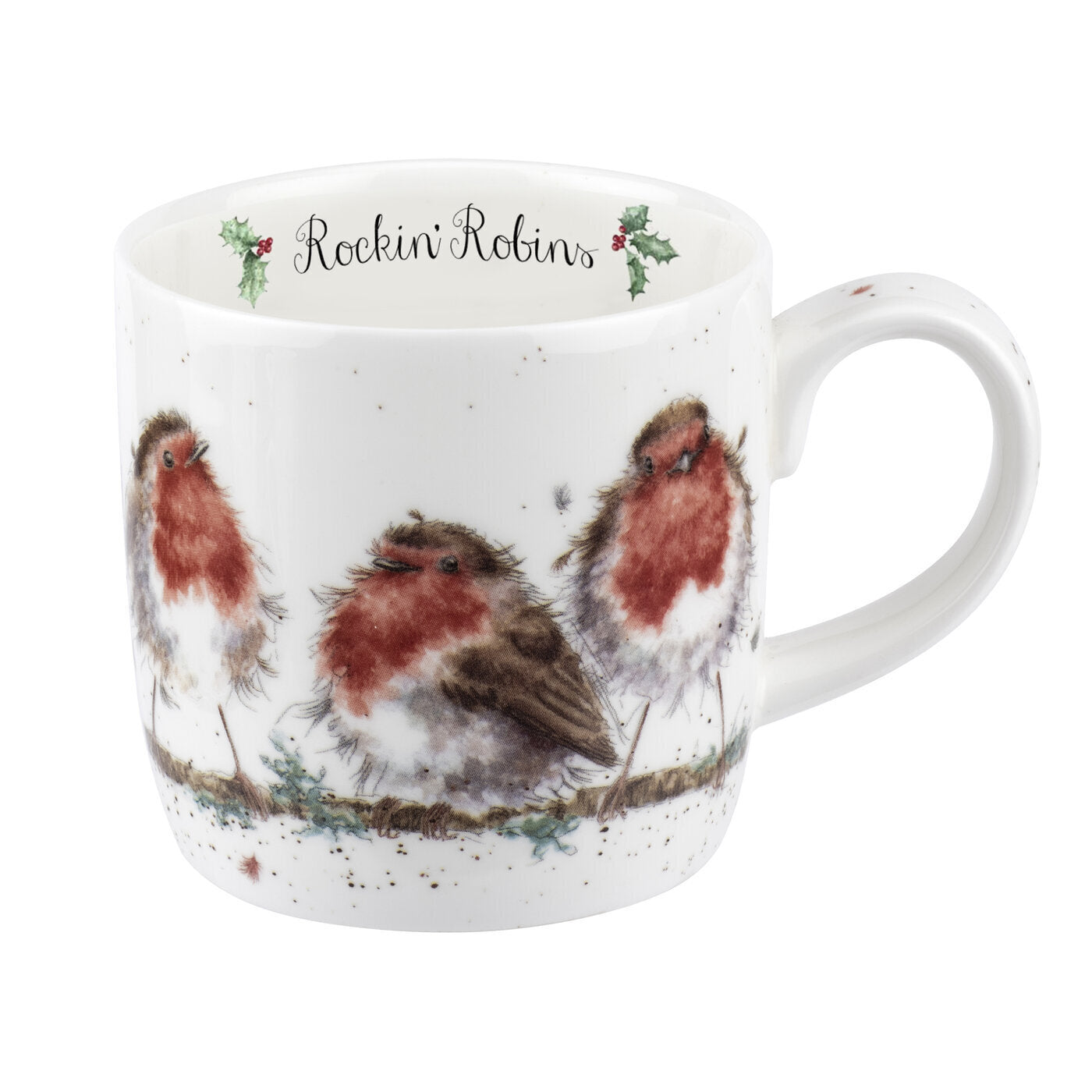 Royal Worcester Wrendale Designs - Robins Mug Rockin' Robins