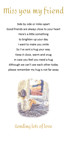 Miss you my Friend - little pocket hug