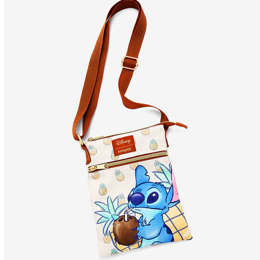Loungefy Disney Lilo & Stitch Pineapple Passport Crossbody Bag
