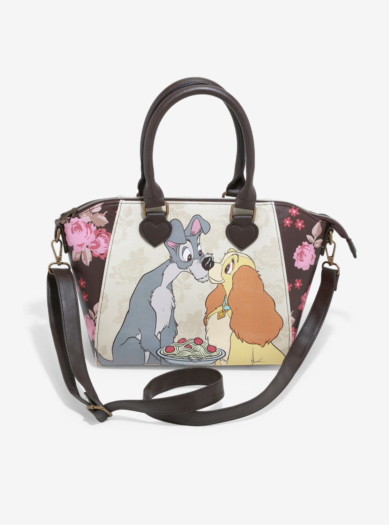LOUNGEFLY DISNEY LADY & THE TRAMP FLORAL SATCHEL BAG