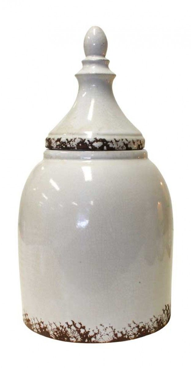 Lidded Urn Fente White Large Ceramic
