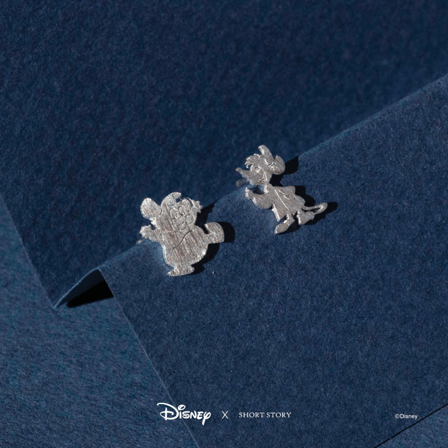 DISNEY EARRING CINDERELLA JAQ AND GUS SILVER