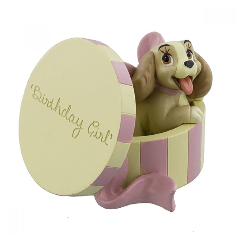 DISNEY MAGICAL MOMENTS LADY AND THE TRAMP: FIGURINE LADY 'BIRTHDAY GIRL'