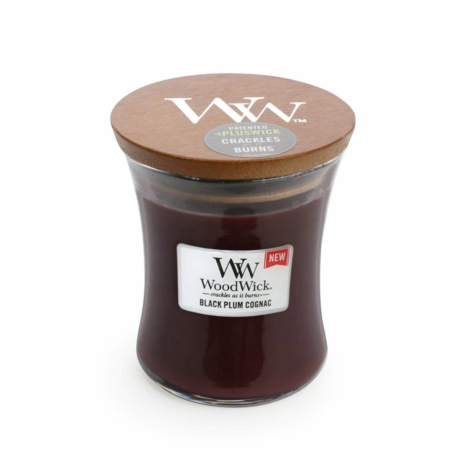 Black Plum Cognac Medium WoodWick Candle