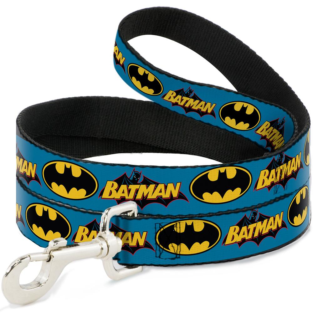 Dog Leash - Vintage Batman Logo & Bat Signal Blue - NARROW 1.27cm